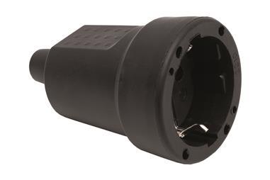 Comprar BASE ENCHUFE AEREA GOMA NEGRA (16A-250V) COF-51001025 en Ferretería el Clavo.
