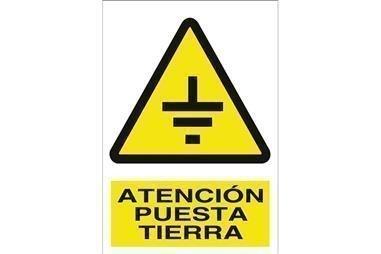 Comprar SEÑAL ADHESIVA 210X148 MM. Atención puesta tierra COF-A02AD210148 en Ferretería el Clavo.