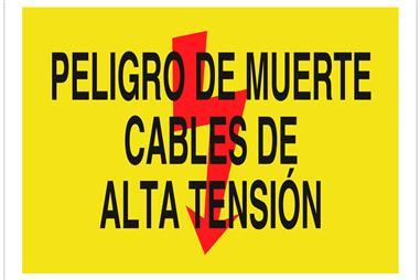 Comprar SEÑAL POLIESTIRENO 297X210 Peligro de muerte cables de alta tensión COF-A412PL297210 en Ferretería el Clavo.