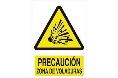 Comprar SEÑAL POLIESTIRENO 420X297MM. Precaución zona de voladuras COF-A44PL420297 en Ferretería el Clavo.