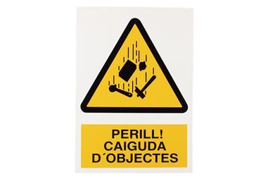 Comprar SEÑAL POLIESTIRENO 420X297 MM Perill Caiguda Objectes COF-CAT-A17PL420297 en Ferretería el Clavo.