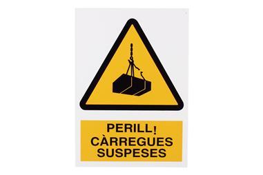 Comprar SEÑAL POLIESTIRENO 297X210 MM Perill carregues suspeses COF-CAT-A19PL297210 en Ferretería el Clavo.
