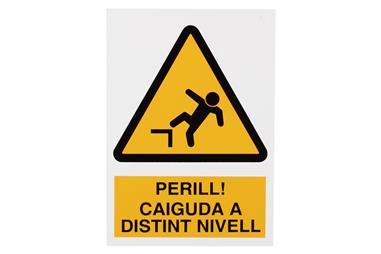Comprar SEÑAL POLIESTIRENO 297X210 MM Perill Caiguda Dintint Nivell COF-CAT-A26PL297210 en Ferretería el Clavo.