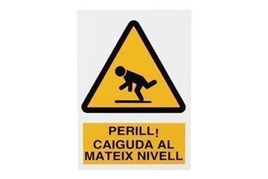 Comprar SEÑAL POLIESTIRENO 297X210 MM Perill Caiguda Mateix Nivell COF-CAT-A27PL297210 en Ferretería el Clavo.