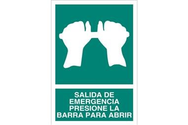 Comprar SEÑAL LUMINISCENTE 148X105 Salida de Emergencia Presione la Barra para Abrir COF-EV03LU148105 en Ferretería el Clavo.
