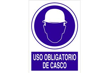 Comprar SEÑAL ADHESIVA 148X105MM Uso obligatorio de casco COF-O01AD148105 en Ferretería el Clavo.