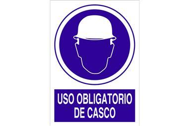 Comprar SEÑAL ADHESIVO 297X210MM. Uso obligatorio de casco COF-O01AD297210 en Ferretería el Clavo.