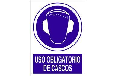 Comprar SEÑAL ADHESIVO 148X105MM. Uso obligatorio de cascos COF-O02AD148105 en Ferretería el Clavo.
