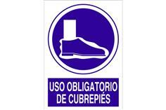 Comprar SEÑAL POLIESTIRENO 1,5MM 297X210 Uso obligatorio de cubrepiés COF-O49PL297210 en Ferretería el Clavo.
