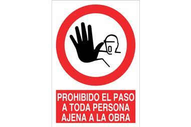 Comprar SEÑAL POLIESTIRENO 148X105MM Prohibido el paso a toda persona ajena a la obra COF-P48PL148105 en Ferretería el Clavo.