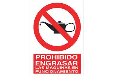 Comprar SEÑAL POLIESTIRENO 297X210MM. Prohibido engrasar las máquinas en funcionamiento COF-P49PL297210 en Ferretería el Clavo.