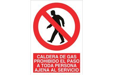 Comprar SEÑAL POLIESTIRENO 148X105MM Caldera de gas prohibido el paso a toda persona ajena al servicio COF-P50PL148105 en Ferret