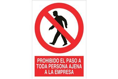 Comprar SEÑAL ADHESIVO 148X105MM Prohibido el paso a toda persona ajena a la empresa COF-P53AD148105 en Ferretería el Clavo.