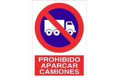 Comprar SEÑAL ADHESIVA 148X105MM Prohibido aparcar camiones COF-P74AD148105 en Ferretería el Clavo.